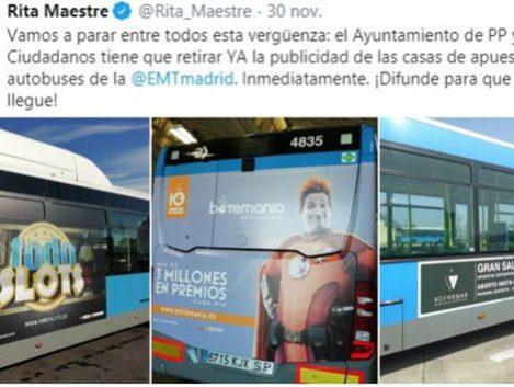 El Ayuntamiento de Carmena recaudó 101.734 euros por anuncios de casas de apuestas en la EMT