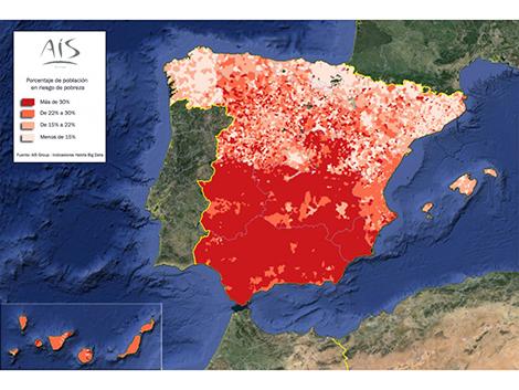 El riesgo de pobreza en España pueblo a pueblo