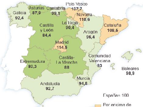 El coste de la vida reduce las diferencias de renta entre regiones