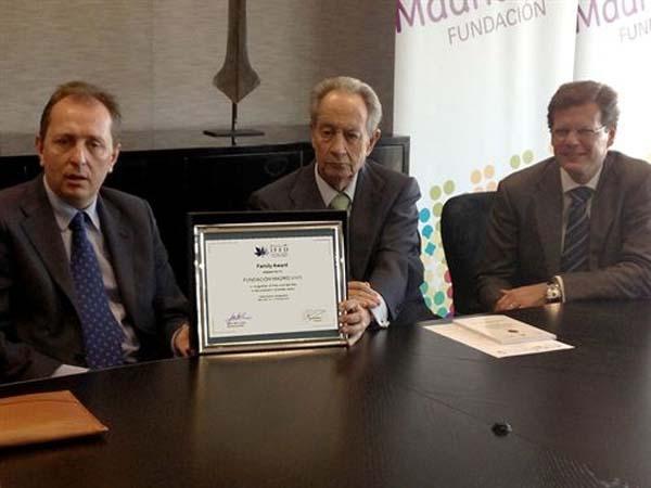 La Fundación Madrid Vivo, premiada por IFFD por su apoyo a la familia